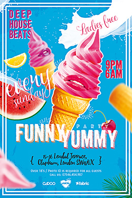 Funny Yummy Party FREE PSD Flyer + Fc cover