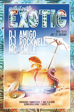 Exotic Coctail Party FREE PSD Flyer