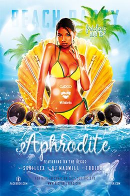 Aphrodite Beach Party FREE PSD Flyer Template