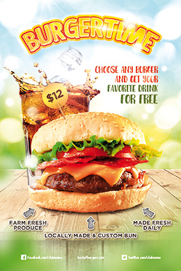 Burger Time PSD Poster & Flyer Template
