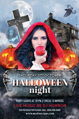 Halloween Party Night PSD Flyer Template