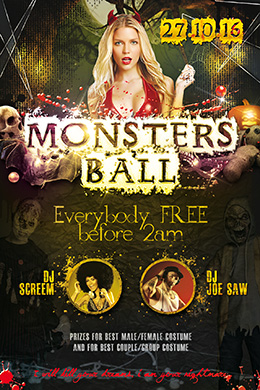 Monsters Ball Party FREE PSD Flyer Template