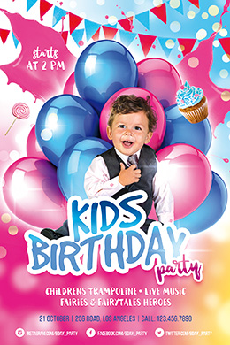Kids Birthday Party FREE PSD Flyer Template