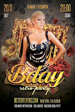 Retro B-day Party FREE PSD Flyer Template