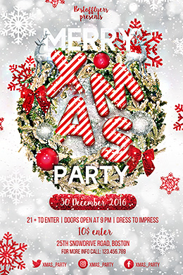 Merry XMAS Party FREE PSD Flyer Template