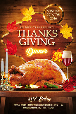 Thanks Giving Dinner FREE Flyer Template