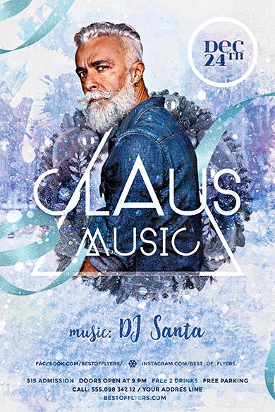 Claus Music PSD Flyer Template