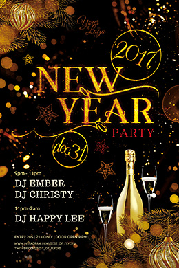 New Year Party PSD Flyer Template