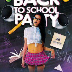 free flyer with schoolgirl on dark background