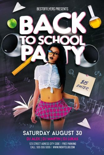 free flyer with schoolgirl on dark background