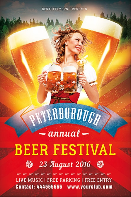 Beer festival free psd flyer template best of flyers smiling woman with two beers saigontimesfo