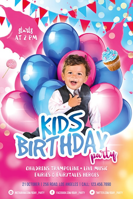 Kids birthday party free flyer template best of flyers happy boy with baloons party flyer template maxwellsz