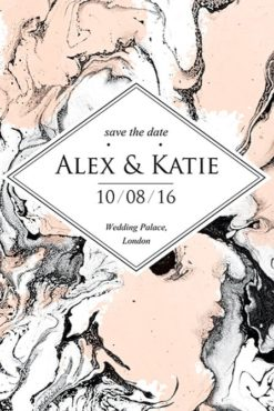 marble wedding invitation flyer front