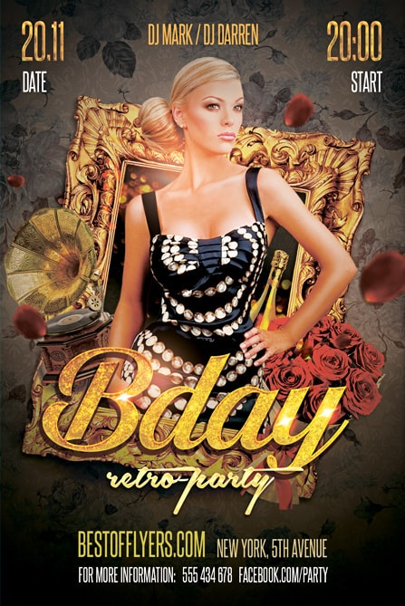 retro b day party free flyer template best of flyers