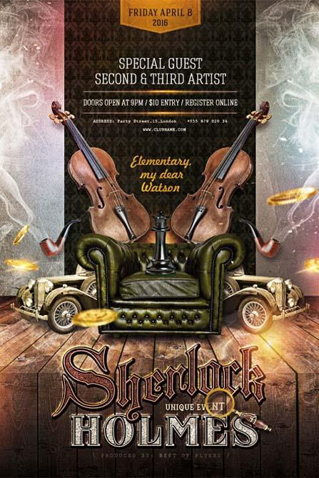 Sherlock Holmes Retro Free Party Flyer Template | Best of Flyers