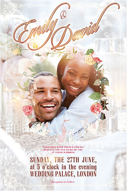 happy lovers with flowers flyer