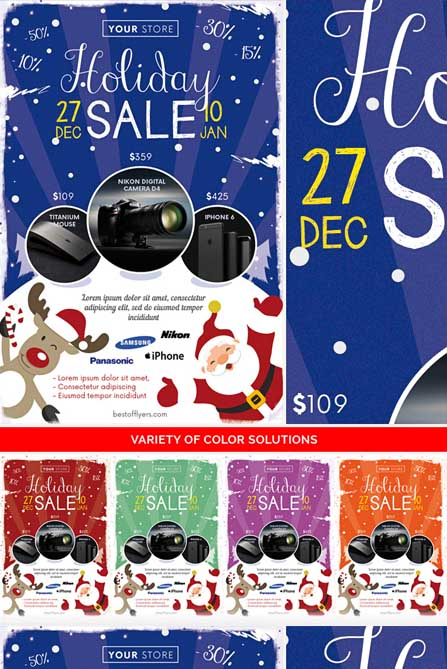 sale flyer with santa on snow