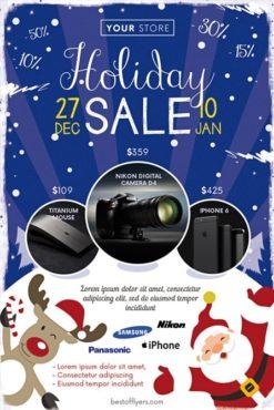 sale flyer with santa on snow