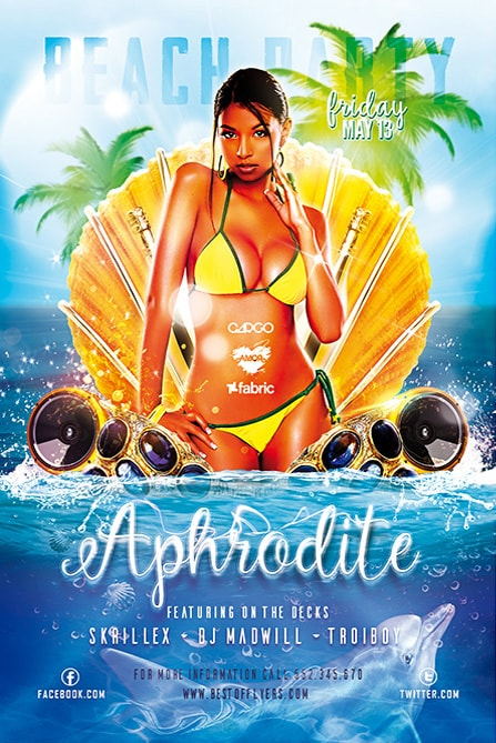 Aphrodite Beach Free Party Flyer Template  Best Of Flyers