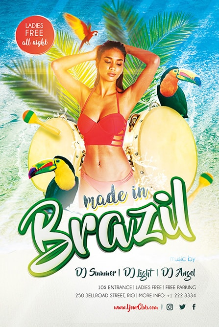 Made in brazil free psd flyer template best of flyers hot girl with drums saigontimesfo
