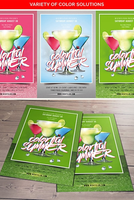 three cocktails on blue background in sea style