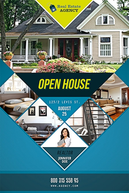 The Squares With Photos On Real Estate Theme  Open House Flyers