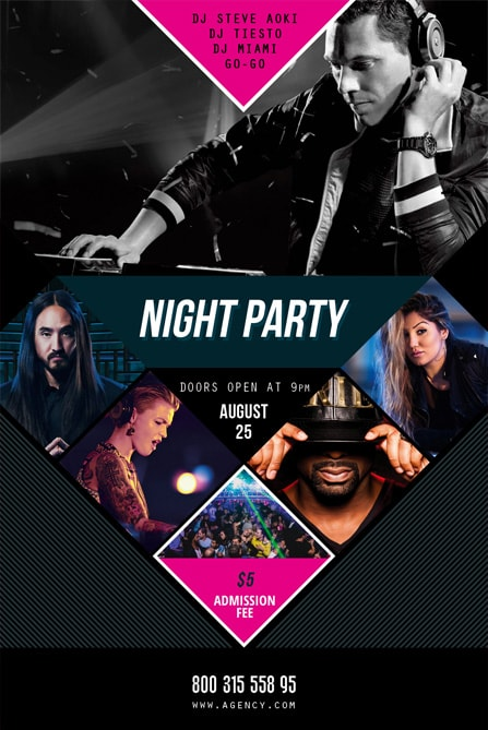 the squares with photos on party theme - Free Psd Flyer Templates