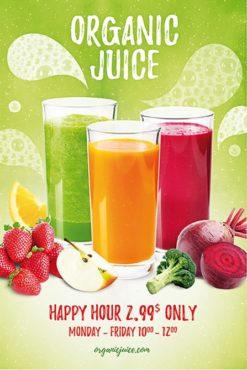 three glasses with juice
