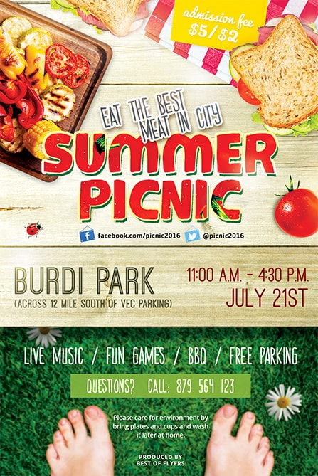 Summer Picnic Psd Free Flyer Template  Best Of Flyers