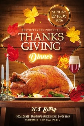 thanksgiving dinner free flyer template