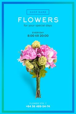 bouquet for flower shop on blue background