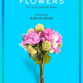 bouquet for flower shop on blue background