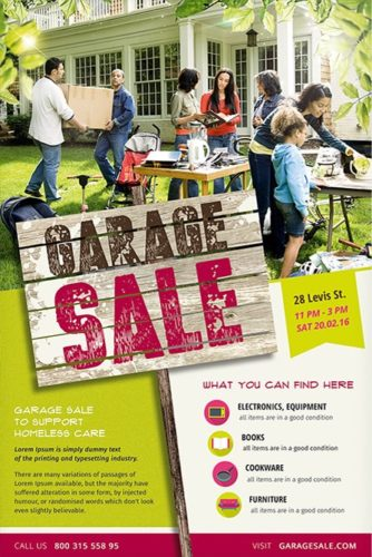 garage sale flyer with ad board