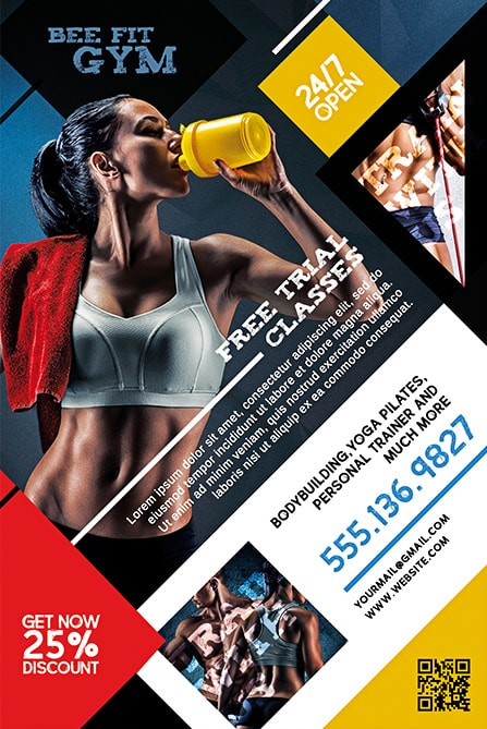 Fitness Girl With Health Cocktail  Free Fitness Flyer Templates