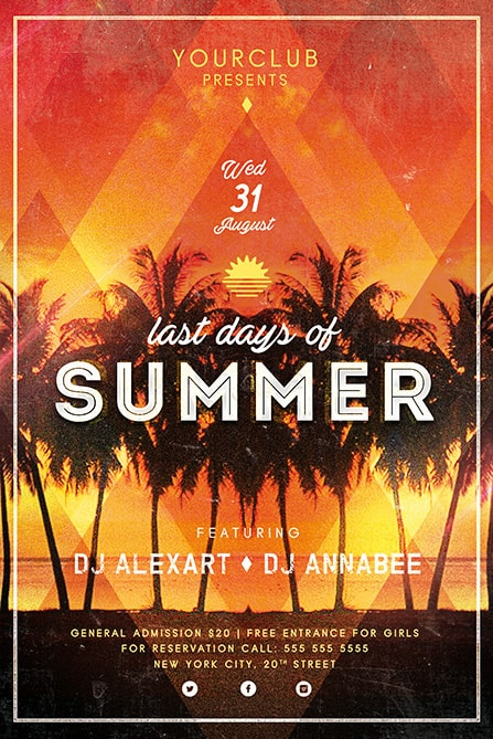 Last Days Of Summer Free Flyer Template  Best Of Flyers