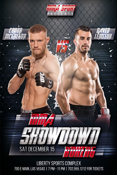 Mma Showdown Boxing Free Flyer Template  Best Of Flyers