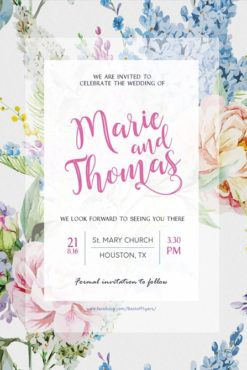 wedding invitation with aquarelle flowers