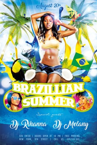 Brazil Summer Free Flyer Template