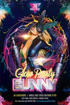 girl in bunny mask on party