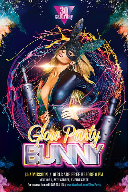 bunny glow party free flyer template
