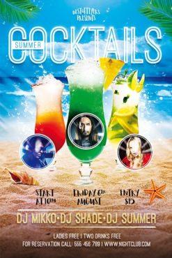 three cocktails on beach