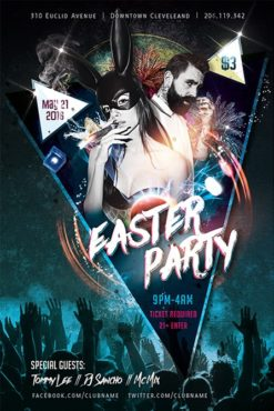bunny girl and bearded man on party