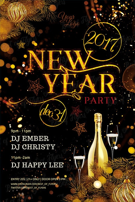 New Year Party Free PSD Flyer Template