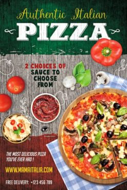 flyer template with pizza tomatoes mushroom