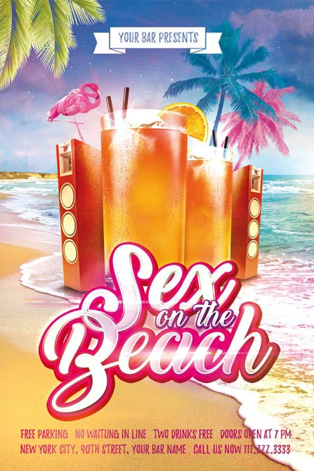 Day  Night Cocktail Party Free Flyer Template For Cocktail Beach