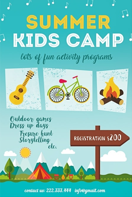 summer kids camp free flyer template best of flyers. Black Bedroom Furniture Sets. Home Design Ideas