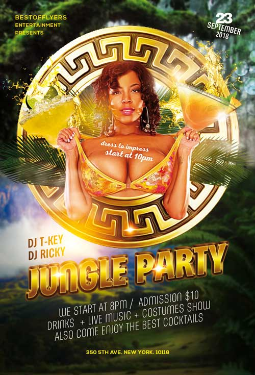 FREE DOWNLOAD JUNGLE PARTY PSD FLYER TEMPLATE