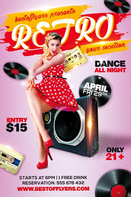 Retro Party Free Flyer Template For Old School Music Party Events