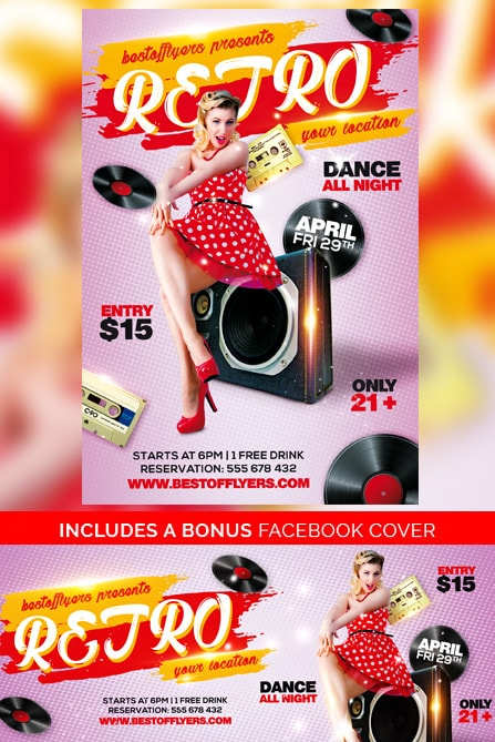 retro party psd flyer template