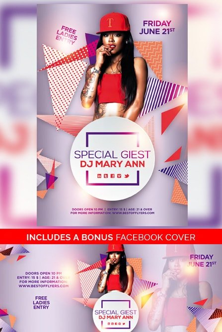 SPECIAL GUEST DJ PARTY FREE FLYER TEMPLATE